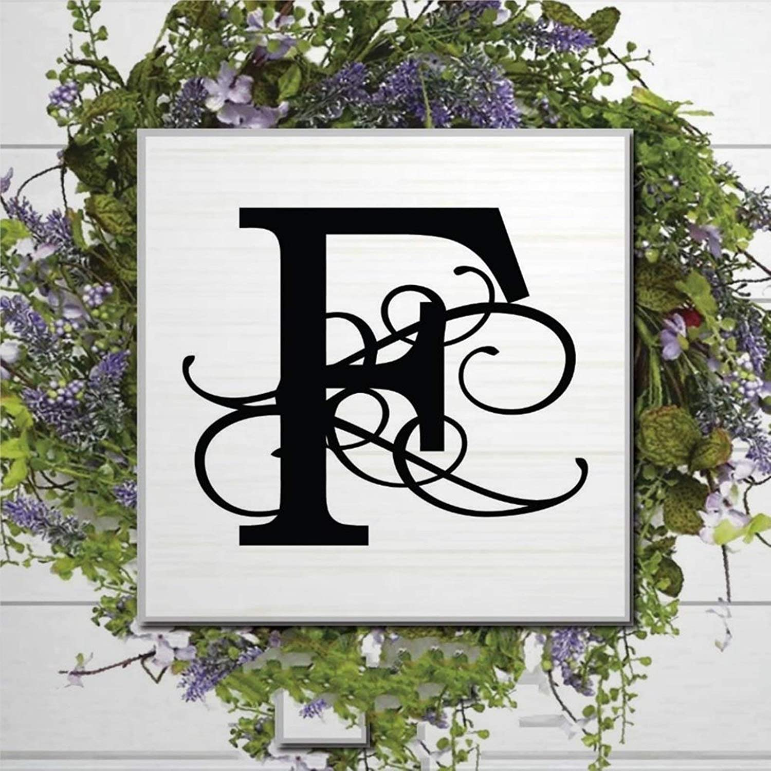 DONL9BAUER F Monogram Wood Sign,Wedding Letter Wood Wall Decor Sign, Farmhouse Wooden Plaque Art for Home,Office,Gardens, Coffee Shop,Porch, Gallery Wall.