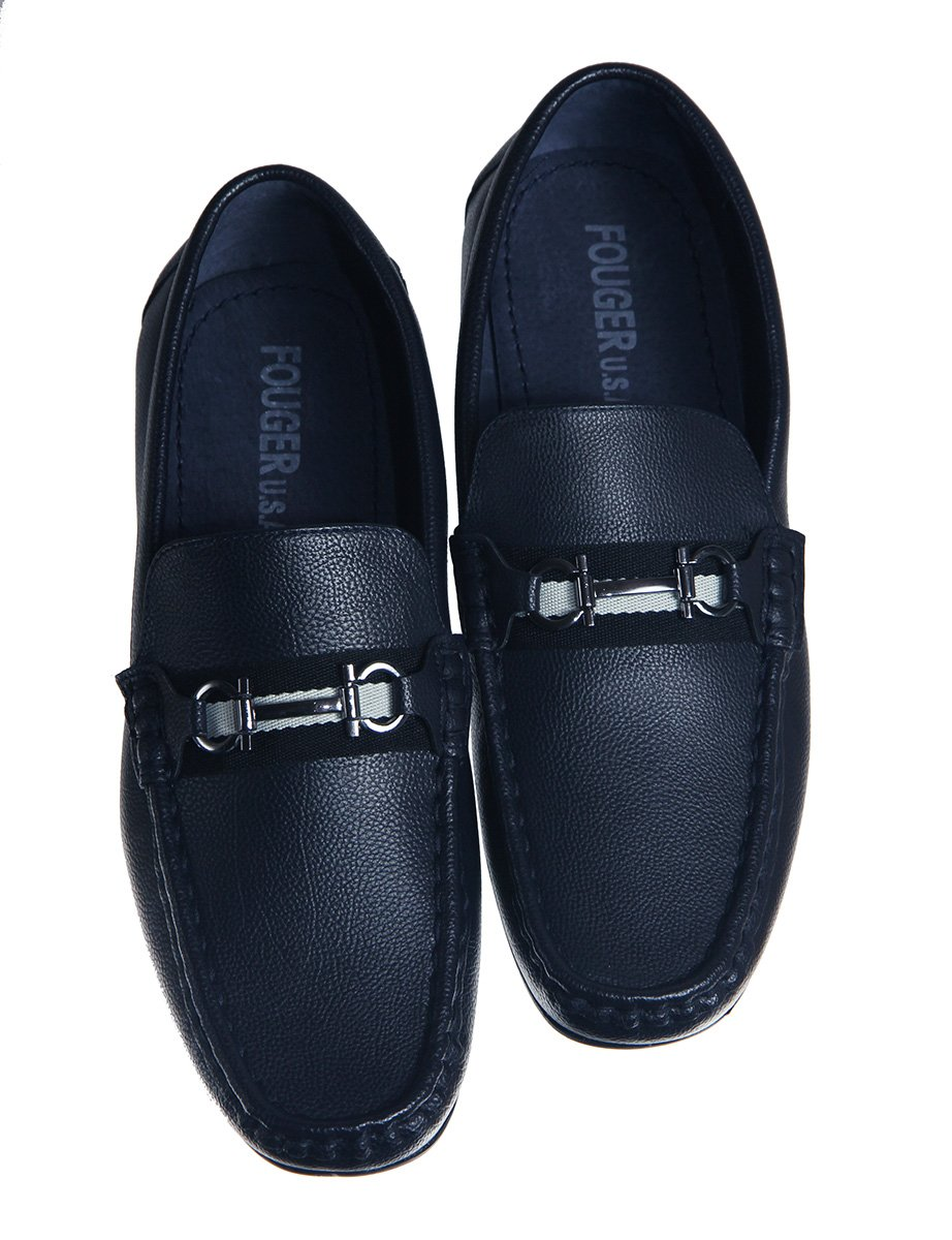 Fouger Boys Navy Blue Slip on Loafers Style Dress Shoes (Boys 13)
