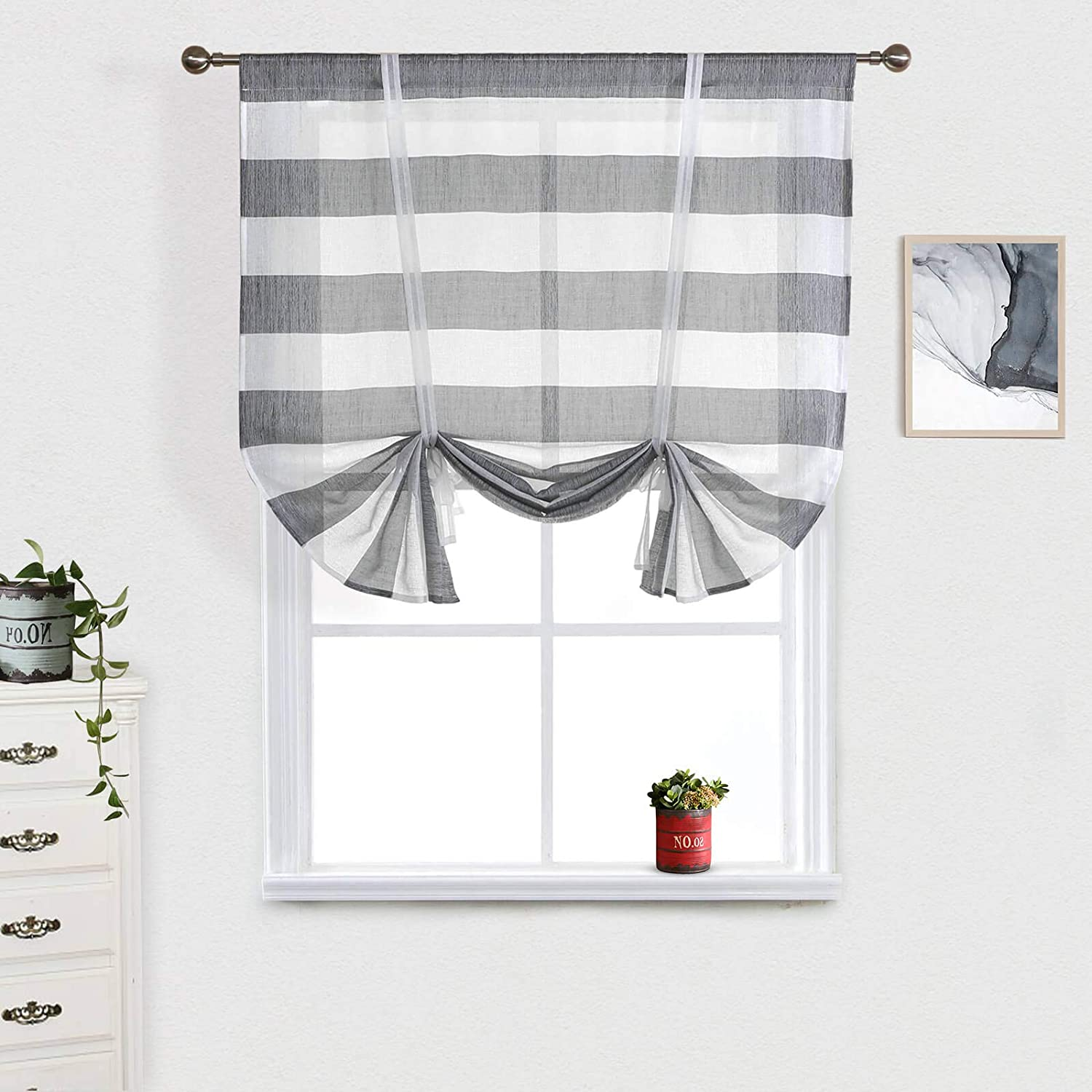 Amazon Com Striped Bathroomtie Up Curtain Grey And White Rugby Stripes Kitchen Valance For Window Light Gray Semi Sheer Balloon Shades Curtains Modern Famhouse Living Room Bedroom Small Windows 46x63 Inch