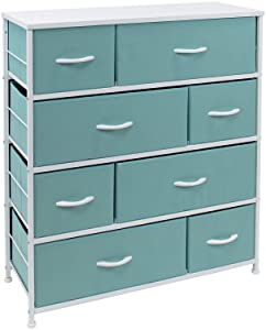 Sorbus Dresser with 8 Drawers - Bedside Furniture & Night Stand End Table Dresser for Home, Bedroom Accessories, Office, College Dorm, Steel Frame, Wood Top (Aqua)