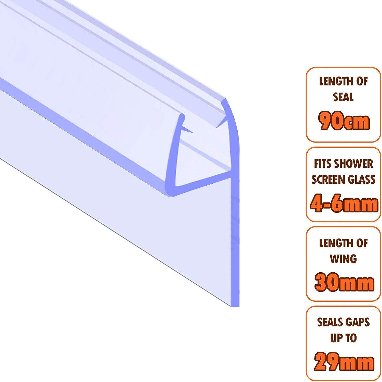 Junta para mampara EcoSpa de ducha cristal de 4 – 6 mm de grosor   Huecos de junta hasta 26 mm   Longitud de ala 30 mm: Amazon.es: Bricolaje y herramientas