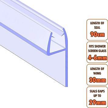 Junta para mampara EcoSpa de ducha cristal de 4 – 6 mm de grosor | Huecos de junta hasta 26 mm | Longitud de ala 30 mm: Amazon.es: Bricolaje y herramientas