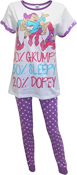 Women/'s Girl/'s Disney seven dwarfs to grumpy to sleepy short Pyjamas set