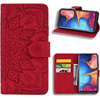 EUDTH Galaxy A70 Case, [3D Emboss Flower Pattern] Magnetic Flip Cover [ Card Slots & Stand ] Leather Wallet Case for Samsung Galaxy A70 - Red