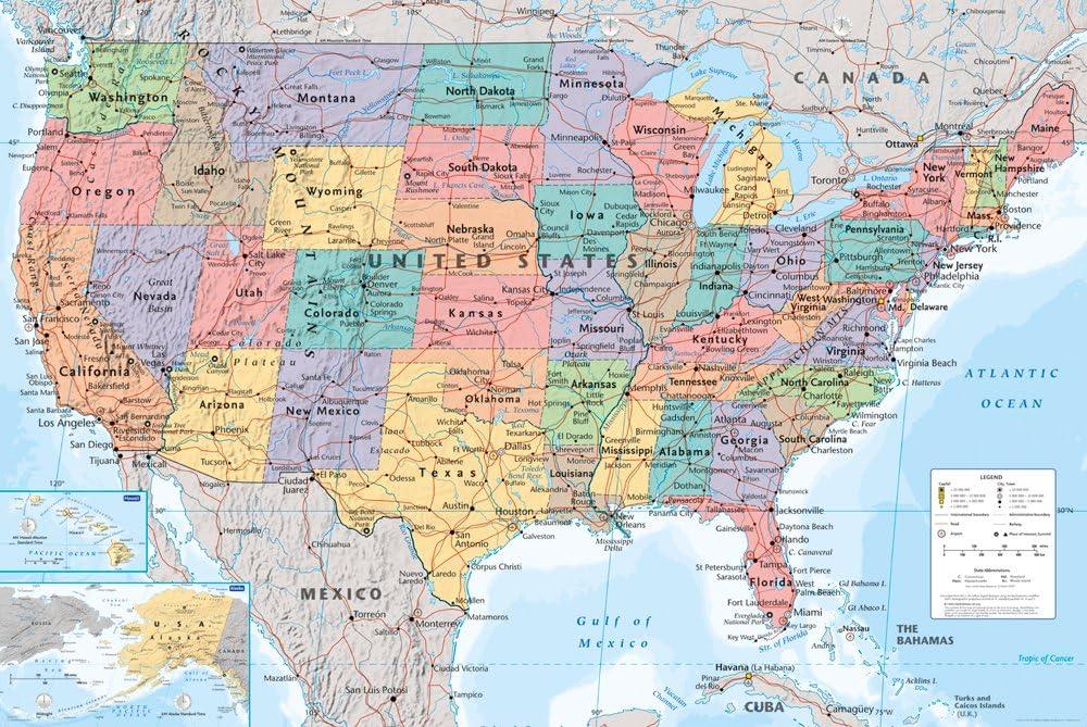 Stati Uniti Cartina Fisica E Politica.Gb Eye Ltd Usa Mappa Maxi Poster 61 X 91 5 Cm Amazon It Casa E Cucina
