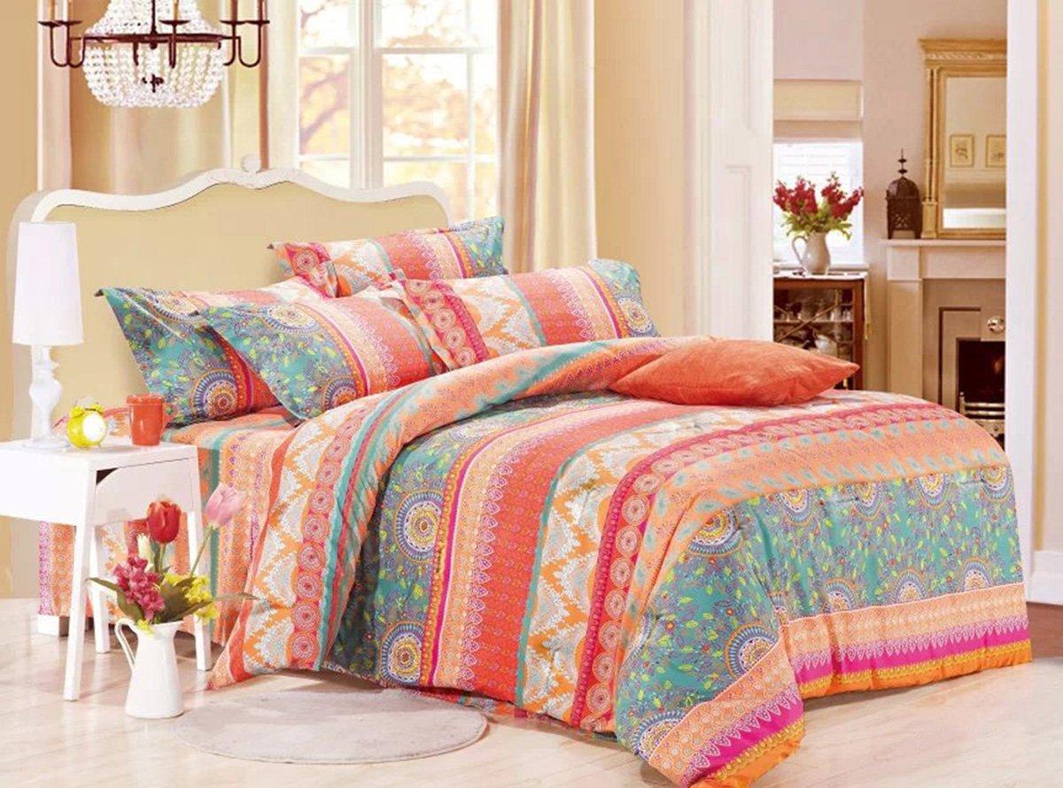 Wake In Cloud - Bohemian Comforter Set Queen, 3-Piece Orange Coral Boho chic Mandala Pattern Printed, Soft Microfiber Bedding (3pcs, Queen Size)