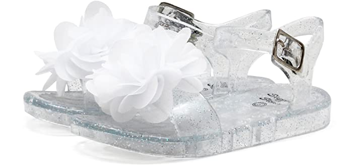 5491f99e6 Stepping Stones Baby Girls Flower Jelly Sandals 3 Clear  Amazon.ca ...
