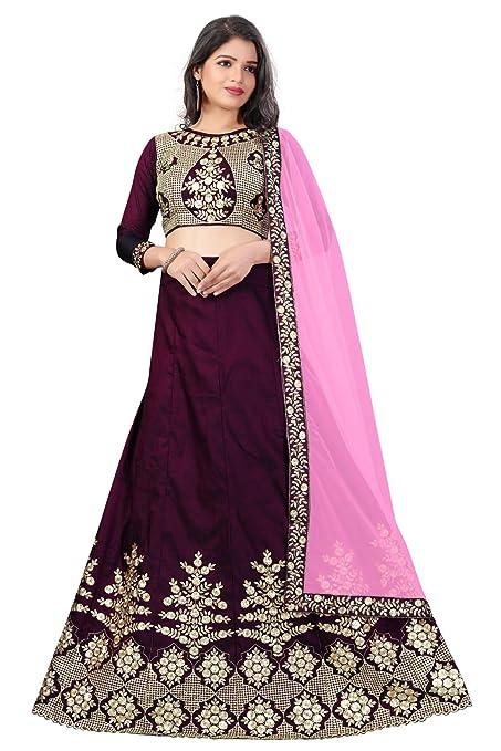 dceea1e3fe R N Creation Surat Women's Taffeta Silk Embroidered Lehenga Choli with  Blouse Piece