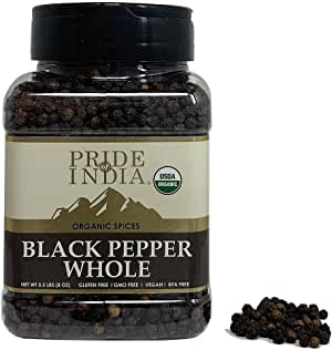 Pride Of India- Organic Black Peppercorn Whole - 8 Ounce (227 gm) Large Dual Sifting Jar - Organic & Vegan Whole Spice - Grown in India - Authentic Indian Flavor- Offers Amazing Value