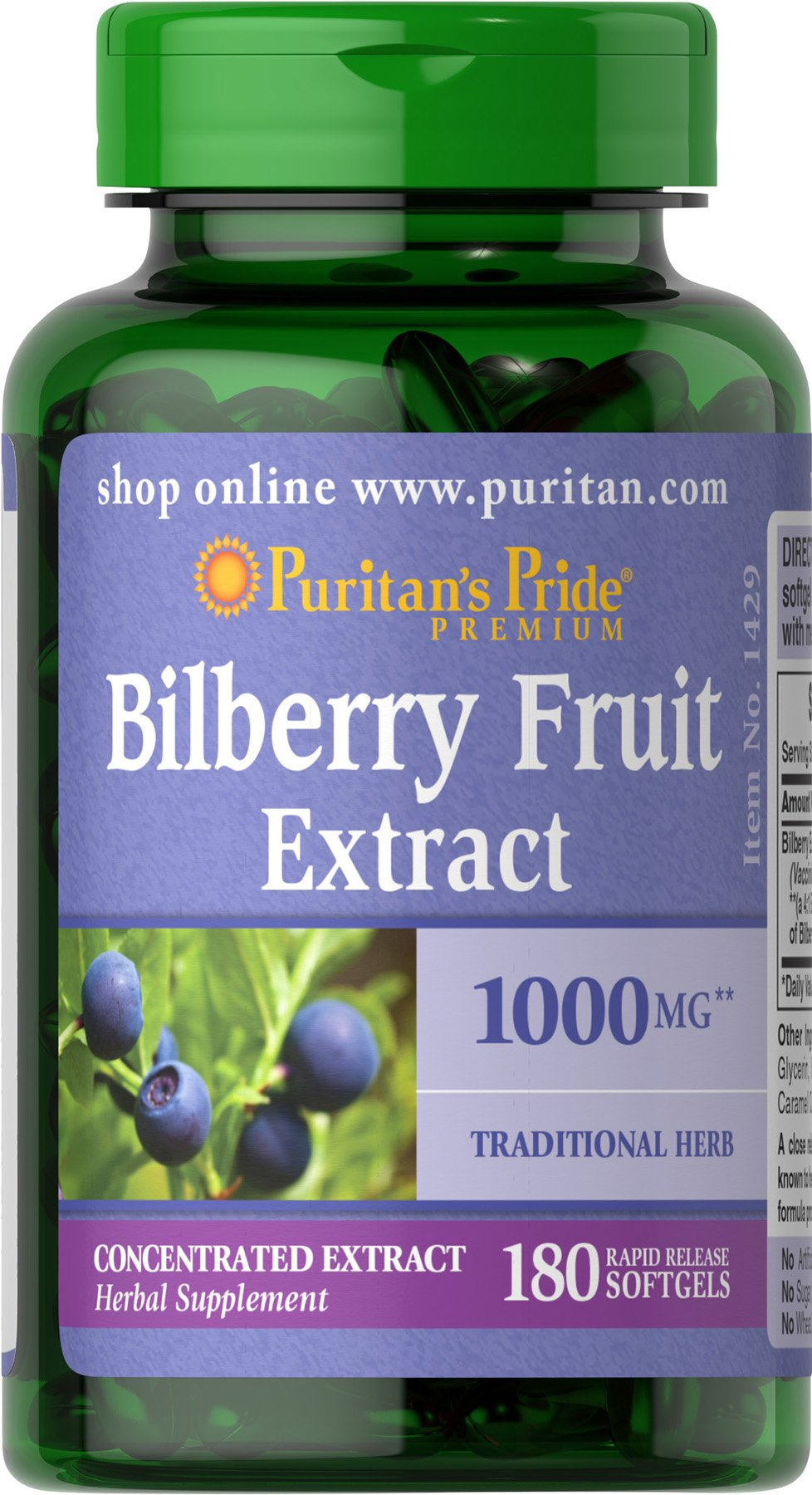 Bilberry Extract by Puritan's Pride®, Contains Antioxidant Properties*, 1000mg Equivalent, 180 Rapid Release Softgels