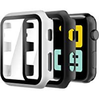 Hianjoo (2 Pack) Case Compatible with Apple Watch Series 3 Series 2 42mm, Built-in Ultra Thin HD Tempered Glass Screen…