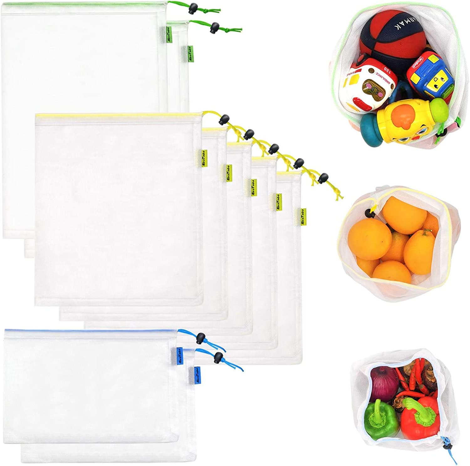 9 Pcs Reusable Produce Bags, 3 Sizes Washable Produce Mesh Bags with Drawstring for Grocery Shopping Storage Fruit Vegetable and Toys, Lightweight and See-Through