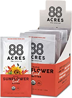 product image for 88 Acres Organic Sunflower Seed Butter | Maple | Keto-Friendly, Vegan, Gluten Free, Dairy Free, Nut-Free Non GMO Seed Butter Spread | 20 Single Serve Squeeze Packs, 1.16 oz