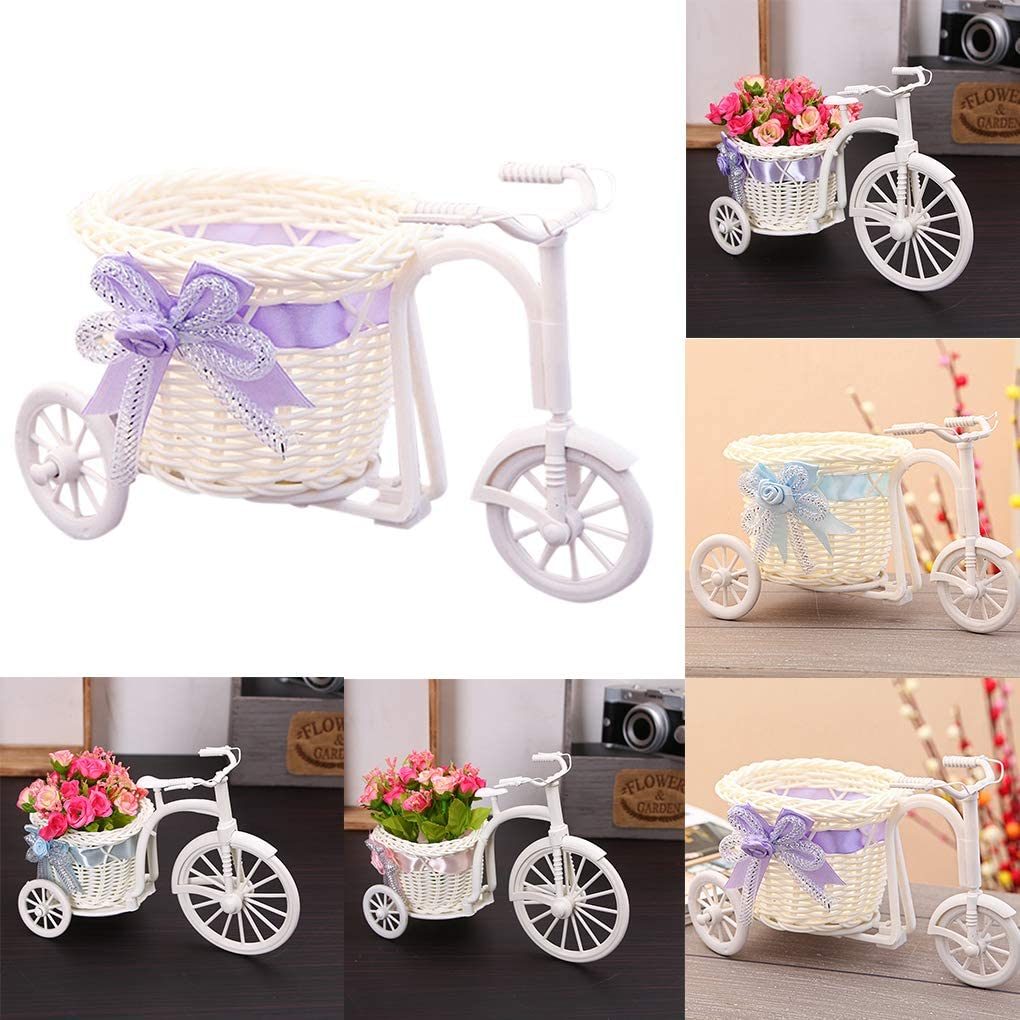 Deinbe Triciclo en Forma de Ceremonia de Fiesta de la Boda Cesta de la Flor Flor de la decoración de Bicicletas contenedor de Almacenamiento, Azul