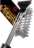 Grill Brush - Bristle Free - Bbq - Barbecue Grill Brush with Scraper - Commercial Stainless Steel Bbq Grill Cleaner - Safer Choice No Bristles in Your Food