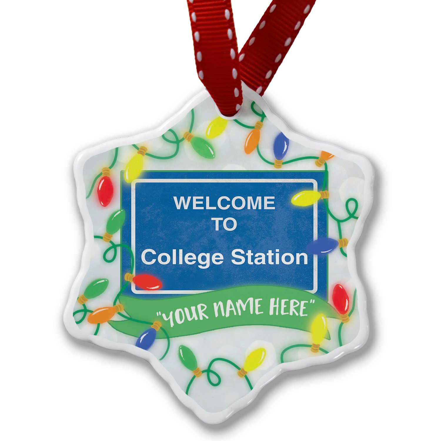 Personalized Name Christmas Ornament, Sign Welcome To College Station NEONBLOND