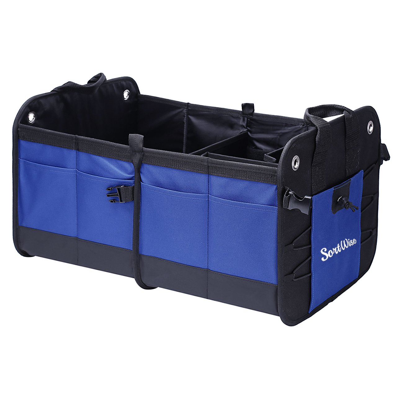 SortWise ® Collapsible Car Trunk Organizer, Super Strong & Durable Travel Storage Container Cargo Storage Box for Car, Truck, SUV, Van, Home, Groceries, Waterproof w/ 2 Sub-dividers