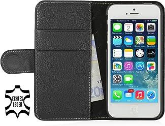 StilGut Talis housse iPhone SE avec porte-cartes en cuir véritable. Etui portefeuille à ouverture latérale et languette magnétique pour Apple iPhone SE, noir