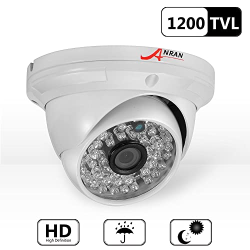 ANRAN 1200TVL Analog Security Camera High Resolution Home CCTV Dome Surveillance Camera 48 IR LEDs Day Night Vision Infrared Waterproof Outdoor Indoor