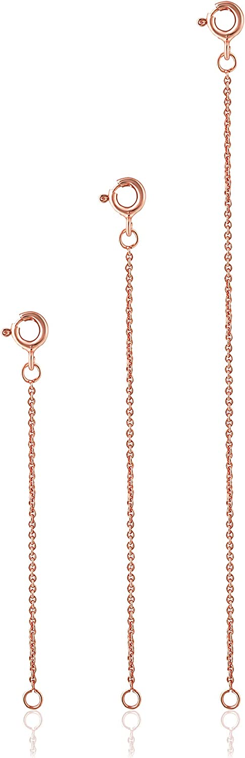 """Sea of Ice 3 Pieces Set Sterling Silver Necklace Bracelet Anklet Chain Extenders for Necklace, 2"""" 3"""" and 4"""""""