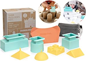 Sand Pal Beach Sand & Snow Castle Building Kit, 9-Piece Brick Maker and Toy Set, Construction Shape Molds for Girls and Boys Summer & Winter Fun for Toddlers to Teens and Adults, with Carrying Case