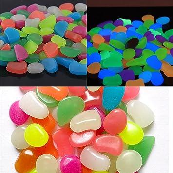GoZheec Piedras Decorativas Brillantes 50 Piezas luminosas piedras Piedras Luminosas para Decoración de Jardín, Acuario, Pecera, Walkway, ...