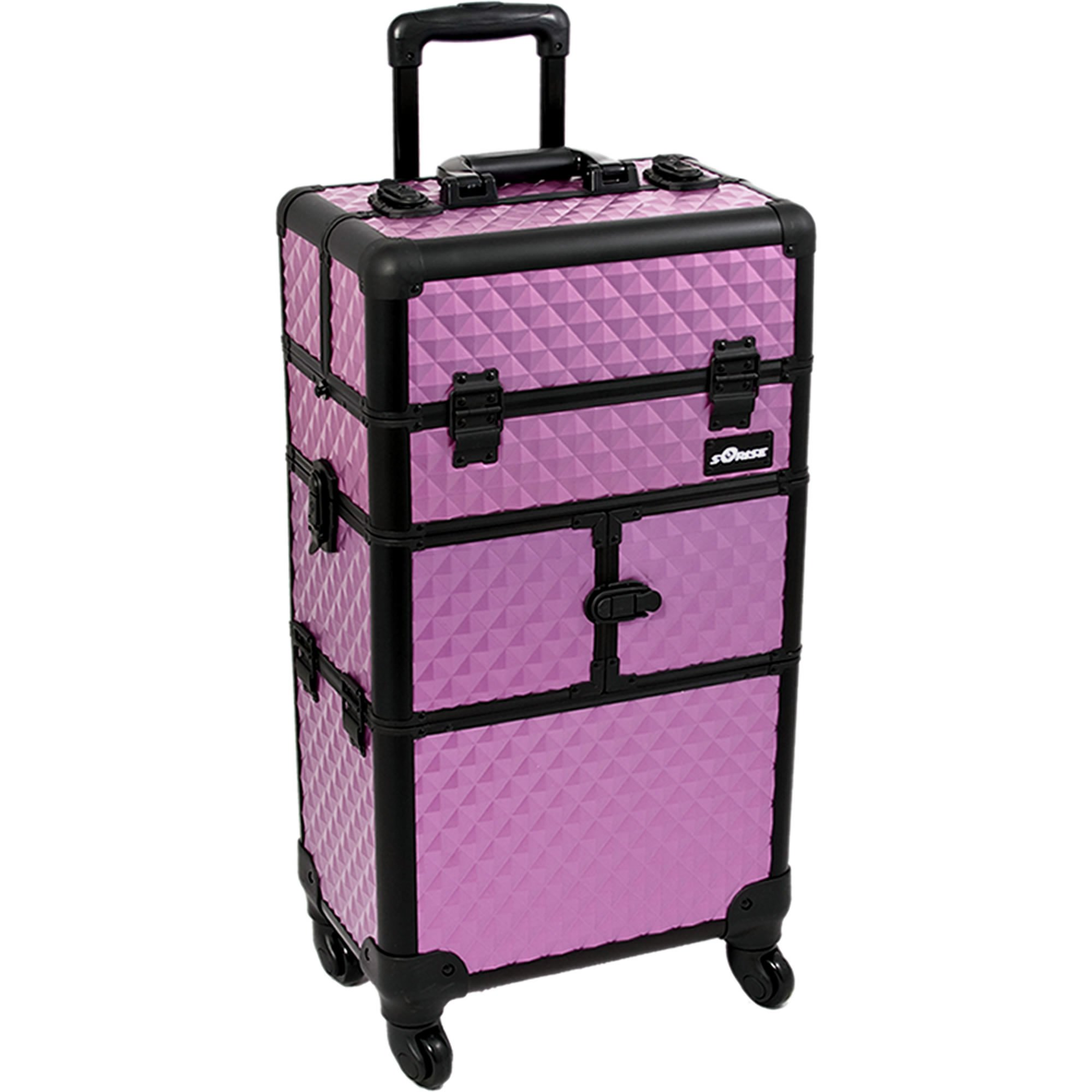 SUNRISE Makeup Rolling Case 2 in 1 I3764 Professional Hair Stylist, 8 Trays, 4 Wheel Spinner, Locking with Mirror and Shoulder Strap, Purple Diamond