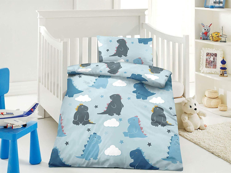 mit Verschiedenen Motiven Babybettw/äsche Wasserbetten-Markenshop Kinder Bettw/äsche 100 x 135 cm Oase blau Kinderbettw/äsche-Set Kissen 40 x 60 cm 100/% Baumwolle