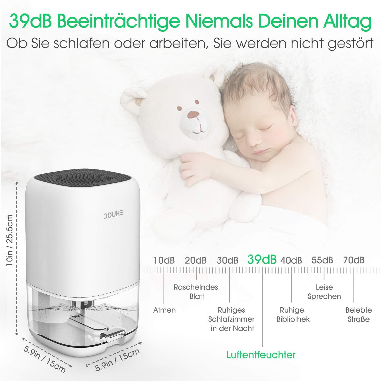 Schlafzimmer B/üro Garage Luftentfeuchter 1000ml Elektrischer Entfeuchter Tragbarer Raumentfeuchter gegen Feuchtigkeit Leise f/ür Schrank Badezimmer