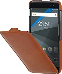 StilGut UltraSlim Case, Custodia Cover Sottile in Pelle Flip Case in Vera Pelle per Blackberry DTEK60, Cognac