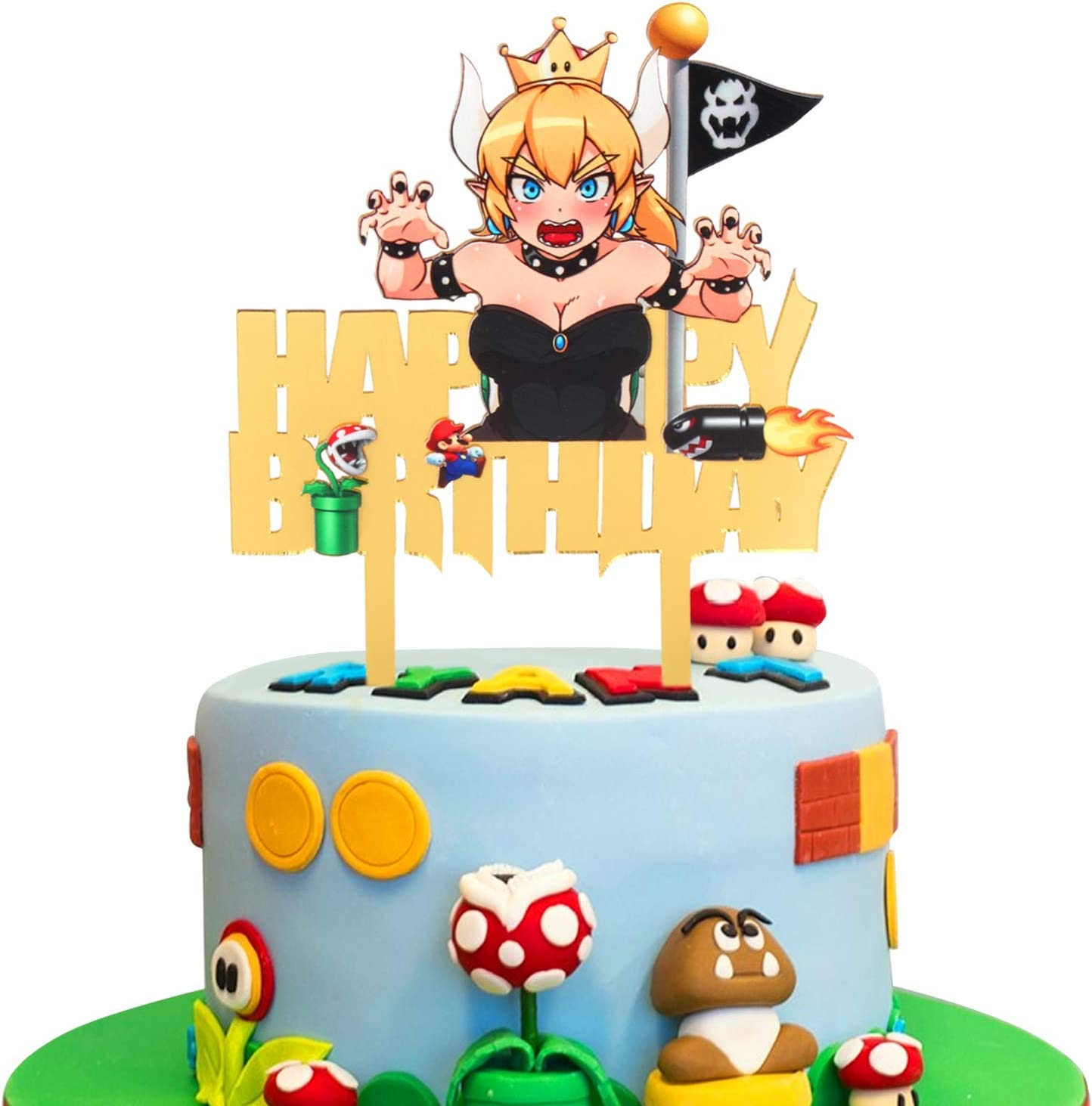 Amazon Com Cartoon Acrylic Bowsette Happy Birthday Cake Topper Video Gaming Theme Birthday Party Decoration Suppliers Home Kitchen