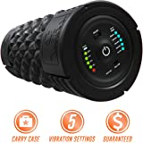 Epitomie Fitness VIBRA Vibrating Foam Roller - Next Generation Electric Foam Roller with 5 Speeds Settings | Includes Carry Case & Vibration Foam Rolling Training