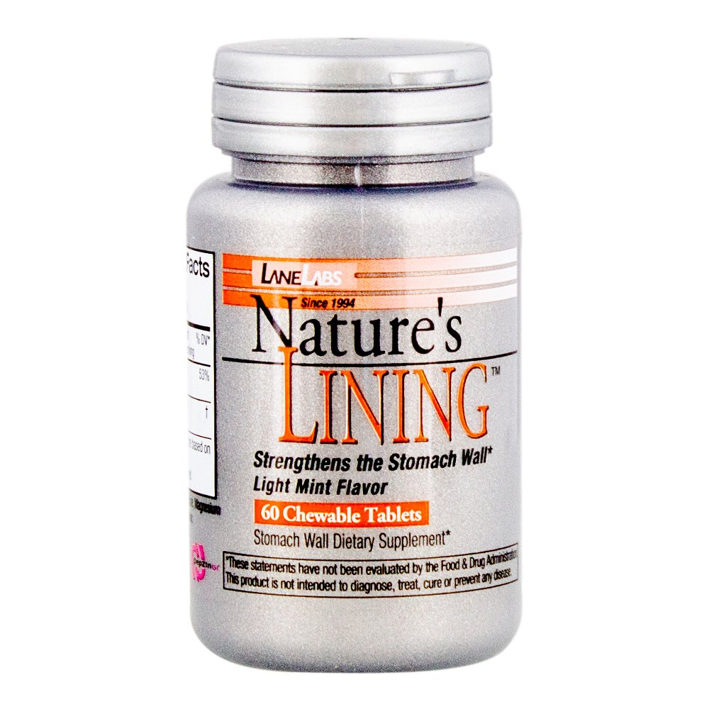 Lane Labs - Nature's Lining, Helps Protect Stomach Wall, Long Lasting Relief, Supports Digestive Balance (60 Chewable Tablets)