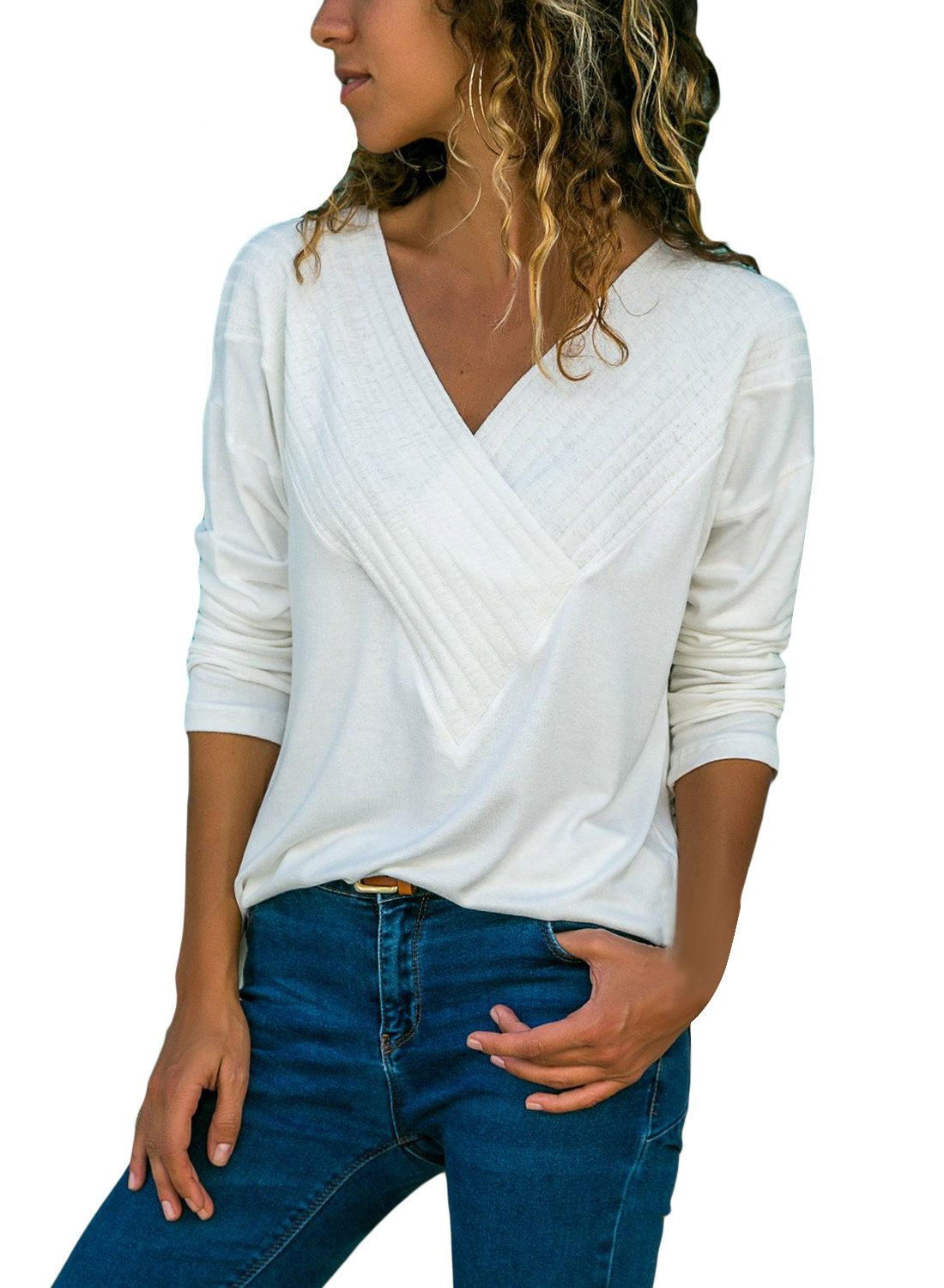 BLENCOT Women's Wrap Front Blouses Long Sleeve V Neck White Solid Basic Tee Shirt Casual Loose Blouse Tops Large