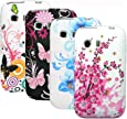 zkiosk 358 Schmetterling Blumen Design Auswahl 2 Silikon Schutzhülle für Samsung Galaxy Young S5360  (4-er Pack) pink/lila/blau/weiß/schwarz