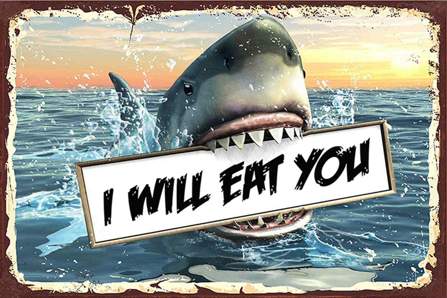 Tin Signs 8x12 inches, Funny Shark Warning I Will Eat You, Danger Shark Zone Danger Metal Sign Home Pub Wall Decor