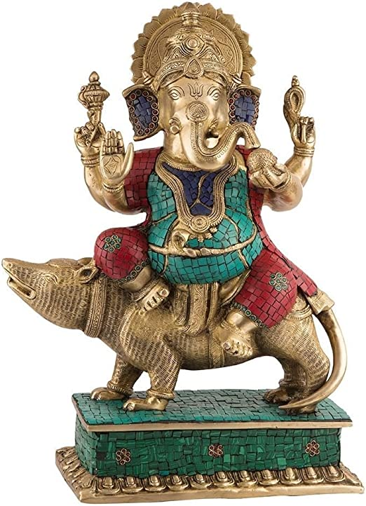 "Amazon.com: 19"" Tall Large Ganesh Statue Sitting on Mouse- Hindu ..."