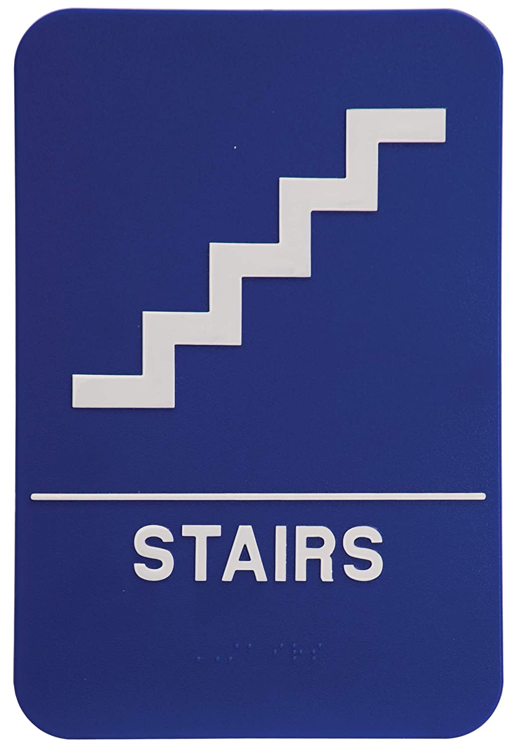 ADA Compliant Stairs Sign 6x9 Blue with White Pack of 24 On Top Awards