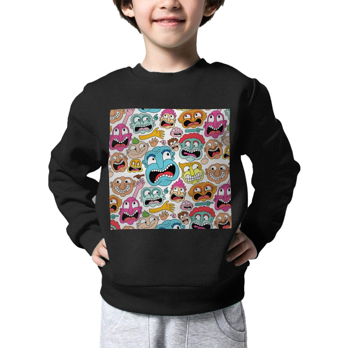 BaPaLa Weird Faces Pattern Boys Pullover Sweater Warm Crew Neck Knitted Sweater for 2-6T
