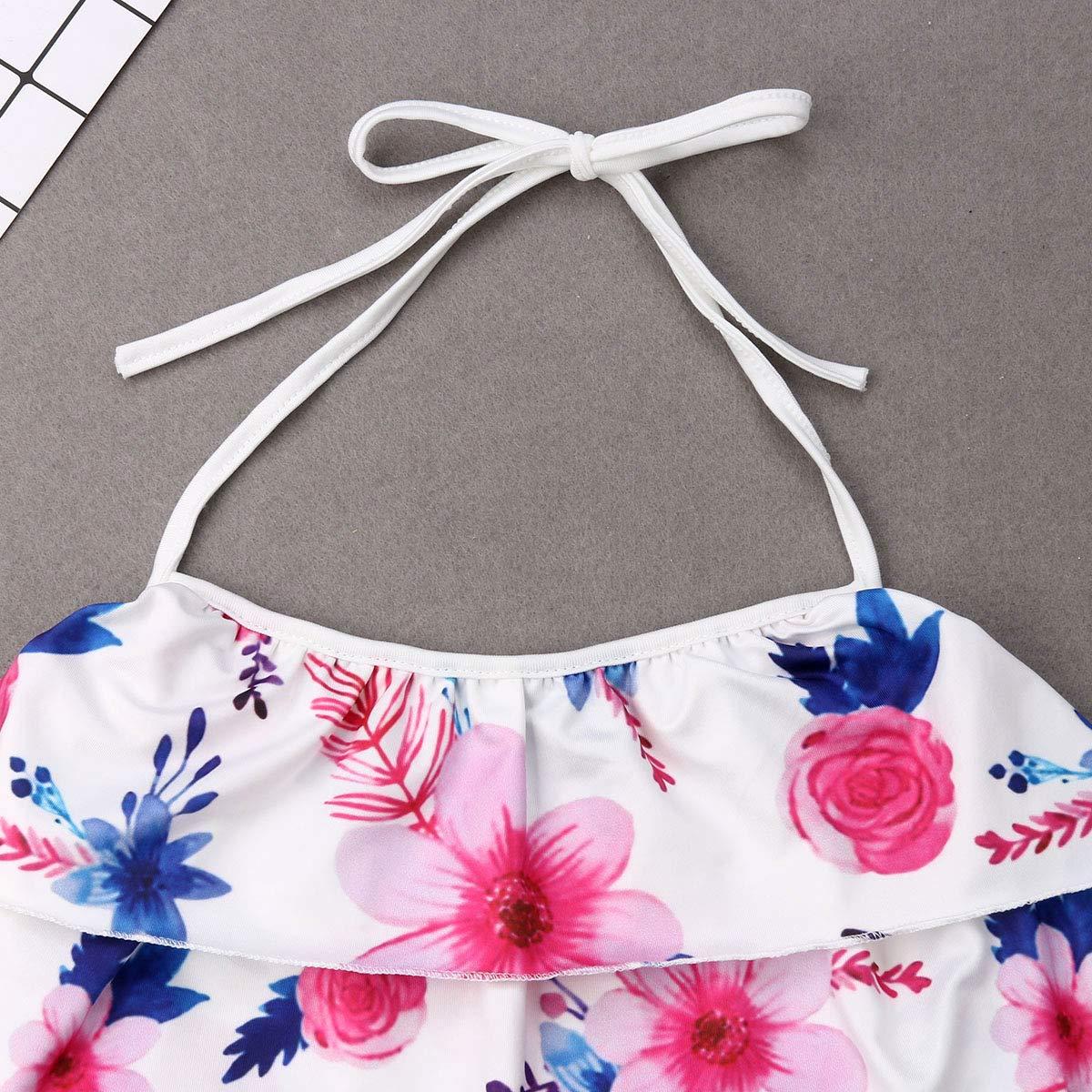 Family Matching Mom and Me Floral Print Bikini Cute Ruffle Halter Beachwear Bathing Suit Swimwear