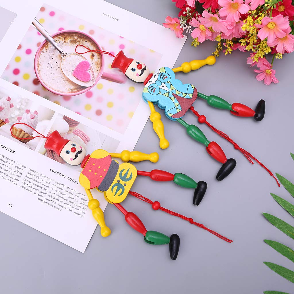 Fogun Funny Vintage Colorful Pull The Rope String Toys Puppet King Wooden Craft Kids Children Gifts Random Color