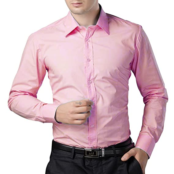 7eae484e9182 BEING FAB Men s Solid 100% Cotton Regular Fit Casual Baby Pink Shirt   Amazon.in  Clothing   Accessories
