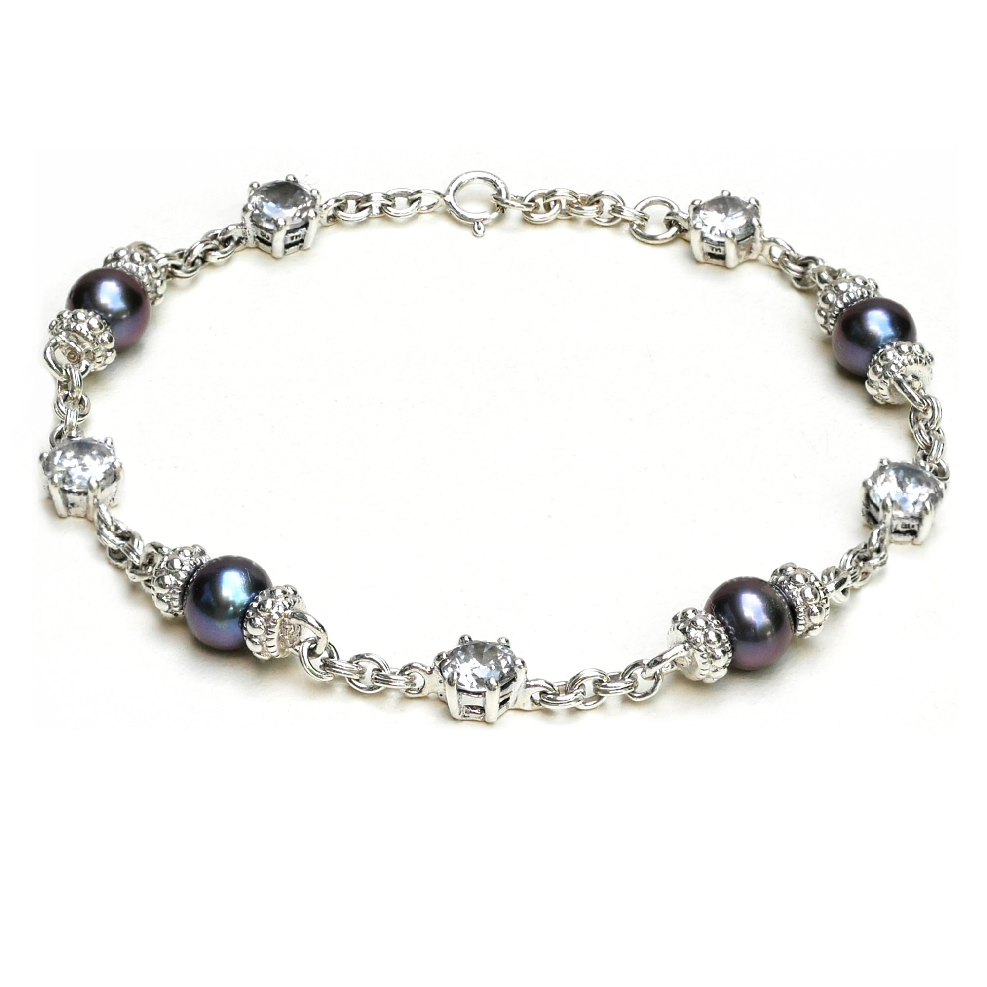 Women 925 Sterling Silver Bracelet with Tahitian Black Pearl and White Cubic Zirconia (7.5)