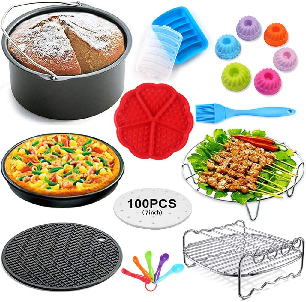 General Air Fryer Accessories Set of 10,Include Metal Bracket,Baking Rack,Silicone Mat,Egg Bites Mold Fits All Brands 5.8Qt, 6Qt AirFryers and Oven, Deluxe Deep Fryer Accessories Set (5.8QT)