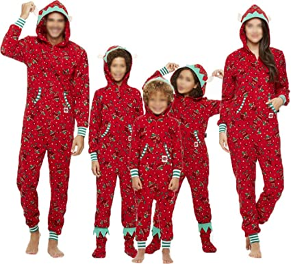 Kids Men Women Sleepwear Christmas Pajamas Set for Family Hooded Kids, 2T