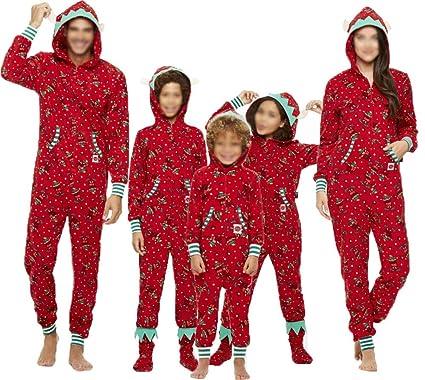 56273c9dd1 Matching Family Christmas Pajamas Adult one-Piece Sleepwear Women Men Boys  Girls Jumpsuit Romper (