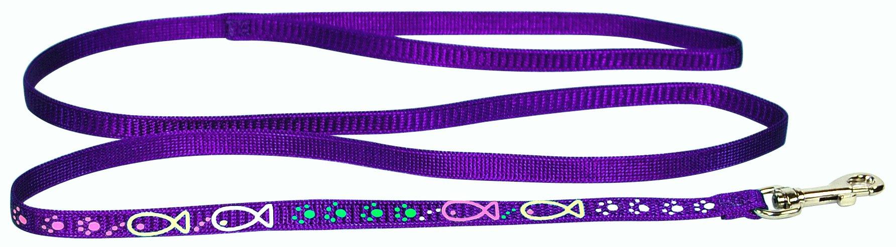 Hamilton Cat Lead with Cat Fish Paw Design, 3/8-Inch by 4-Feet, Purple Nylon