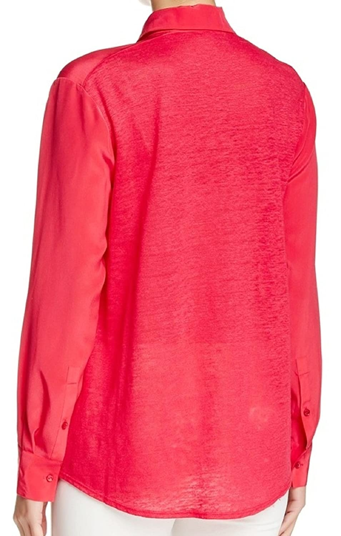 87642cb4787f62 Amazon.com: VINCE. Spread Collar Linen & Silk Blouse, Raspberry: Clothing