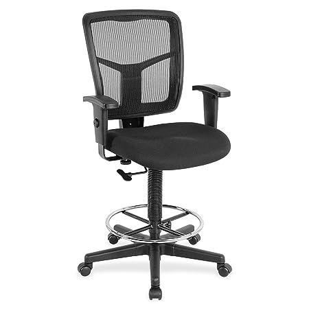Lorell LLR86801 Ratchet Mesh Mid-Back Stool Chair 2.6 Height X 75.8 Width X 27.3 Length Black