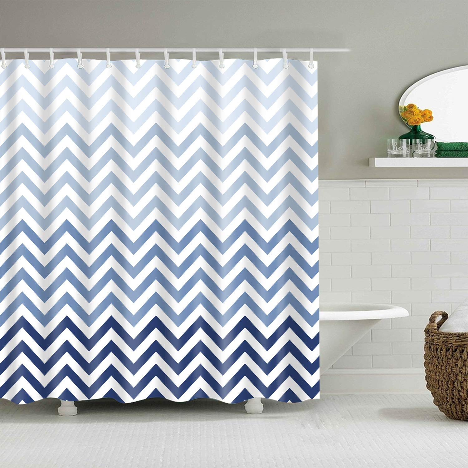 Bartori Home Decorative Shower Curtain With Free Hooks Dark Blue Gradual Change To Light Blue With Wavy Line On White Background Waterproof Polyester